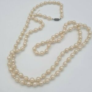 Nice heavy vintage simulated pearl necklace with barrel clasp (see description)