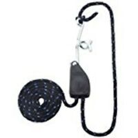 """NEW 2434157 3//16/"""" X 8FT BLACK WHITE ROPE RATCHET KIT 110LB RATED WITH HOOK"""