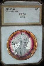 2002-W American Silver Eagle Proof Cameo -(Certified) Tone - RAINBOW COLOR