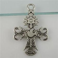 11417 10PCS Alloy Flower Peace Dove Cross Pendant Charms Vintage Silver Tone