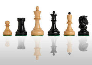 """The Dubrovnik Chess Pieces - 3.75"""" King - Black and Natural Lacquered"""