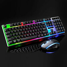 Wired Illuminated Gaming LED Keyboard + Mouse Mice Kit For Computer PC Laptop