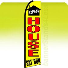 Feather Swooper Flutter Banner Sign 11.5' ft Tall Flag - Open House Sat/Sun yq