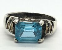 Vintage Sterling Silver Ring 925 Size 8 Blue Topaz Emerald Cut Band