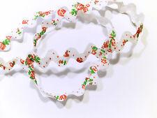 Zackenlitze Zickzackband Bogenborte weiß mit Rosen 15 mm