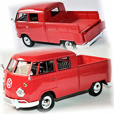 VW Volkswagen T1 Type 2 Cabine double Doka Pick-Up 1959-67 rouge 1:24