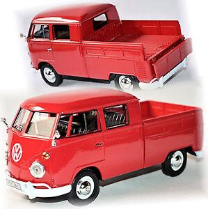 VW Volkswagen T1 Type 2 Crew Cabin Doka Pick-Up 1959-67 Red 1:24