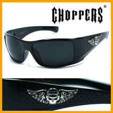 Choppers Bikers Mens Skull Logo Black Sunglasses - Shiny Black C42