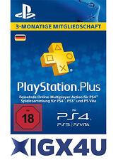 PlayStation Plus Live Card PSNetwork PLUS 90 Tage nur Card- PSN PS4- DE-Store ★★