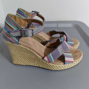 TOMS Women's Size 8.5 Shoes Multicolor Peep Toe Striped Wedge Espadrille Booties