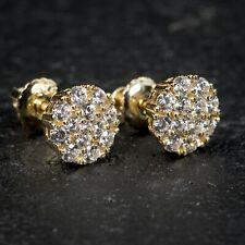 Flower Set Cluster Stud Screw Back Earrings Mens Iced Gold Honey Comb Hip Hop