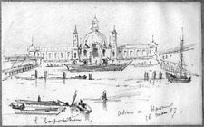 LÉON BERVILLE DESSIN ORIGINAL 1887 LE HAVRE EXPOSITION MARITIME INTERNATIONALE