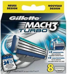 Gillette Mach 3 Turbo 8 PACK RAZOR BLADES - SAME DAY DISPATCH