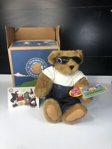 """Vermont Teddy Bear With Mom Tattoo 17"""" Stuffed Animal Jeans Sun Glasses With Box"""