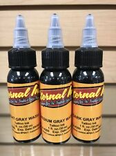 "Eternal Tattoo Ink ""Gray Wash Set"" of 3 Light Gray, Medium Gray, Dark Gray 1Oz"