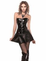 Hot Women Sexy Lace Up Body-shaping Apparel PVC Slim Clothes Corset Mini Dress