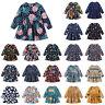 Girls Print A-line Long Sleeve Short Dress Round Neck Autumn Spring Clothes Kids