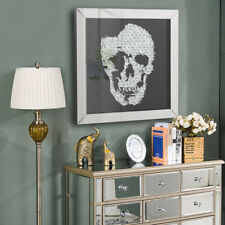 Artistic Crystal Jewel Skull Wall Hanging Picture Mirror Glass Frame Living Room