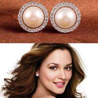 Lady Jewelry Fashion Crystal Rhinestone Pearl Earrings Ear Studs
