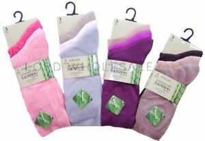 Pack of 3  Pairs Ladies Luxury Bamboo ,Super Soft Extra Fine Socks Shoe Size 4-7