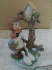 Vintage Porcelain Figurine Young Girl Praying w/Geese Royal Crown