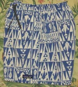 "PATAGONIA Blue White Printed 5"" Lined Baggies Shorts Medium M"