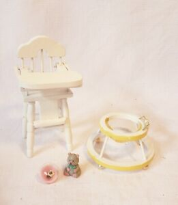 Dollhouse Miniature 1:12 White Highchair and Walker with Toys