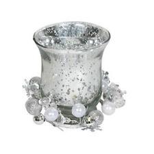 Candelabros y portavelas decorativos color principal plata de vidrio para el hogar