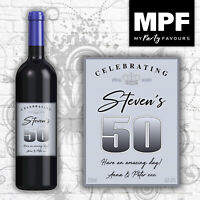 Personalised Birthday Wine Bottle Label - 18th, 21st, 30th, 40th (vintage blue)