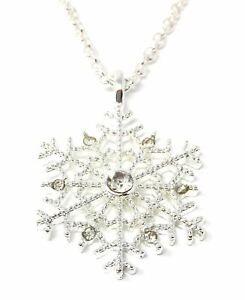 *UK Shop* CHRISTMAS SNOWFLAKE CRYSTAL RHINESTONE PENDANT NECKLACE SECRET SANTA