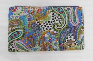 Blue Indian Cotton Reversible Kantha Quilt Handmade Bedspread Paisley Twin size