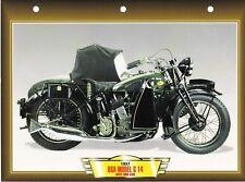 CARTE FICHE TECHNIQUE MOTO / BSA MODEL G 14   AVEC SIDE CAR . 1937  NEUVE