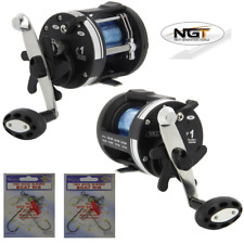 NGT LS3000 MULTIPLIER SEA BOAT FISHING REEL WITH 25LB LINE + 2 BOAT FISHING RIGS