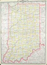 1887 Railroad and County Map of Indiana Antique