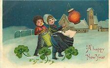 Embossd Chromolithograph New Year PC B.W.329 Unposted Children Japanese Lanterns