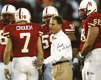FRANK SOLICH SIGNED 8x10 PHOTO NEBRASKA CORNHUSKERS FOOTBALL COACH BECKETT BAS