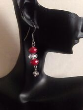 (RR3) hadmade in  uk , RUBY RED FACETED real CRYSTAL dangle  drop EARRINGS new