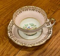 EB Foley 1850 Bone China Tea Cup And Saucer Pink Gold Peacock Floral V2875