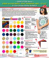 """Siser easyweed heat transfer vinyl,12"""" x 12"""" - 6 color sheets starter bundle"""