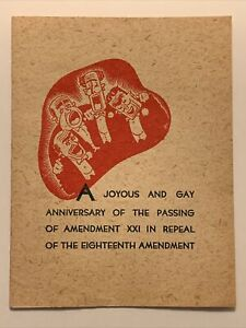 1930s Antique Anniversary of Repeal of Prohibition Pamphlet Card - near mint