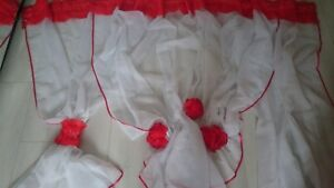 NICE NEW READY MADE VOILE NET CURTAINS RED APROX D 135cm x W 345cm N1