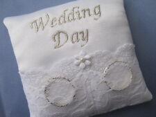 """9cms PKT SIZE """"WEDDING DAY"""" WHITE BRIDAL SATIN & LACE WEDDING RING CUSHION"""