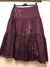 Monsoon Purple Silk Sequin Skirt Boho Hippie Size Uk 12(14)