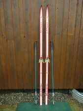 "Ready to Use Cross Country 81"" Long HARJU 210 cm Skis + Bamboo Poles"