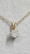 0.22ct Natural Solitaire Diamond 14K Yellow Gold Pendant Necklace 16in Chain