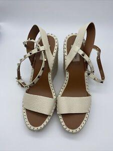 Valentino Rockstud Espadrilles Wedge Sandals Ankle Strap Slingbacks Shoes Sz 40