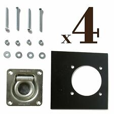 4 Recessed D Ring TieDown Anchors, Galvanized Tie-Downs, Pan Fitting D-Rings