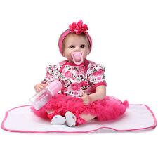 "22""Handmade Lifelike Baby Girl Doll Silicone Vinyl Reborn Newborn Dolls+Clothes"