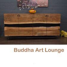 Sideboard Massivholz Suar Baumstamm Naturkante 200x95x46 Anrichte Buffet Schrank