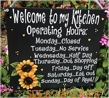 Sunflower Sign Welcome Operating Hours Kitchen Country Americana Wall Decor